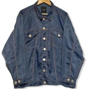 Joyrich Satin Blue Button Up Small Shirt Jacket